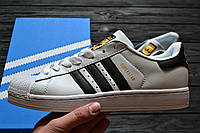 Кроссовки Adidas Superstar Supercolor white/black/gold. Живое фото. Самовывоз (Реплика ААА+)