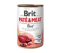 Влажный корм Brit Pate & Meat Beef 11/9 (говядина для взрослых собак), 400 гр