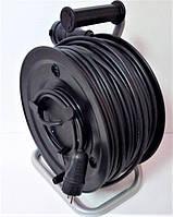Электрический удлинитель на катушке с выносной розеткой, без заземляющего контакта сечение 2 * 2,5 мм2, фото 1