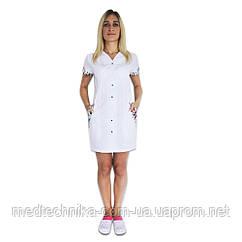 Медицинский халат женский Ибица белый/белая бабочка