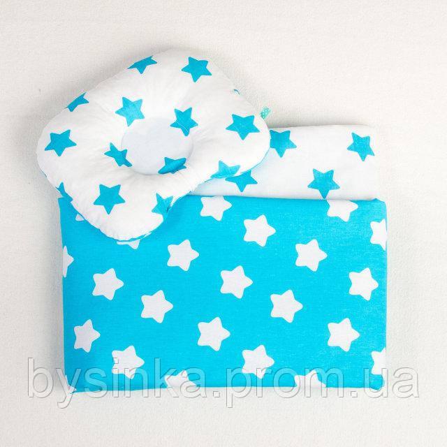 Постельное белье в детскую колыбель BabySoon три предмета Бирюзовые звезды (407)