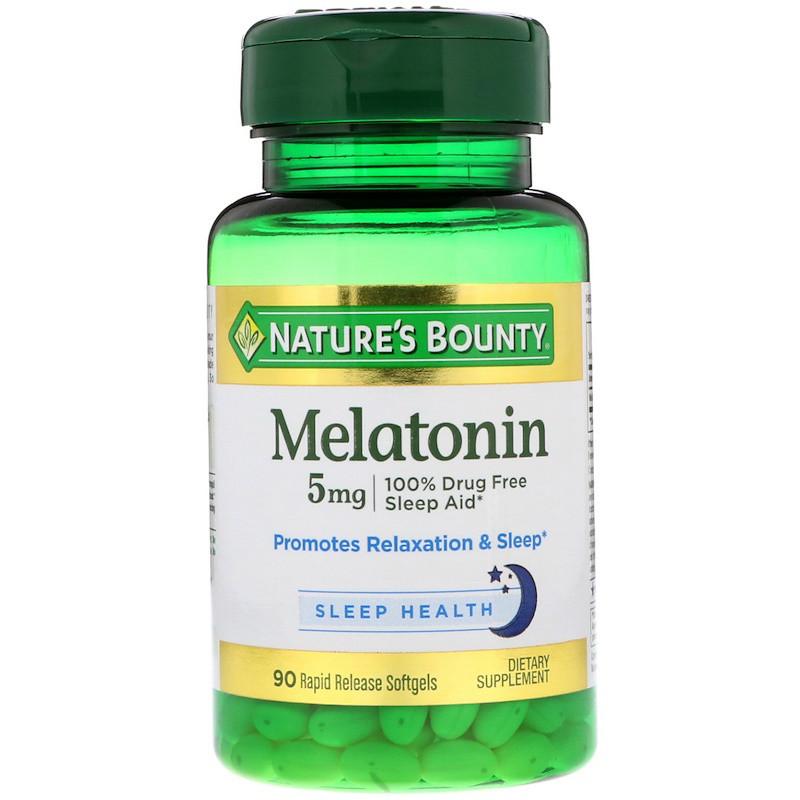 Natures Bounty, Мелатонин, 5 мг, 90 гелевых капсул