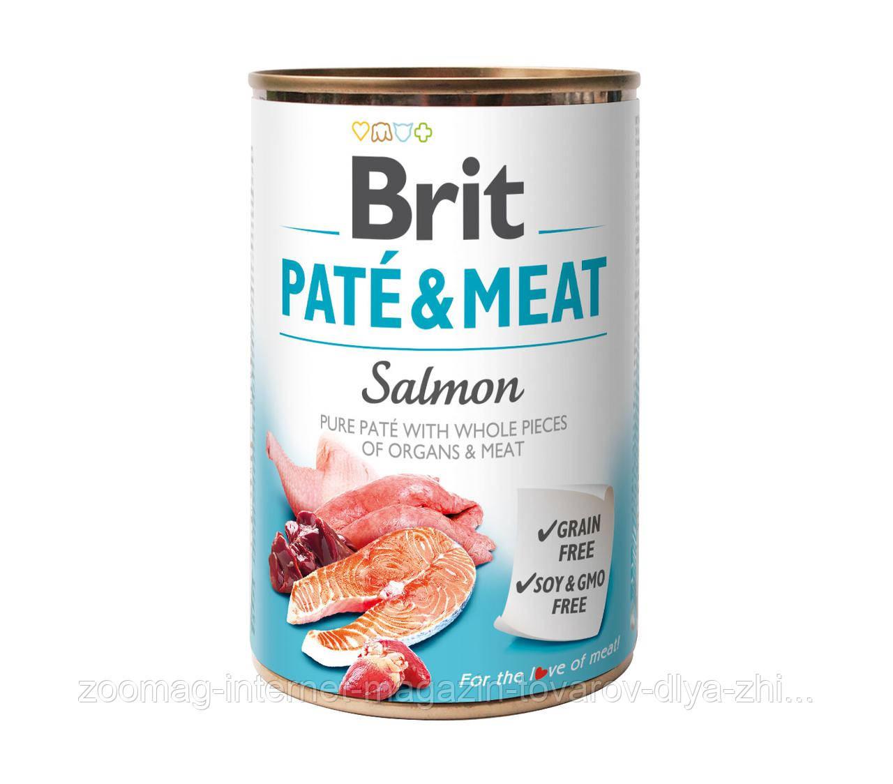 Влажный корм Brit Pate & Meat Salmon 11/9 (лосось для взрослых собак), 400 гр