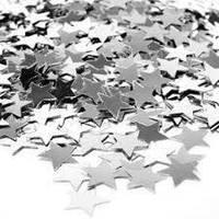 Конфетти звезды серебро 3,5х3,5 см 50 г/упак. металлик полипропилен