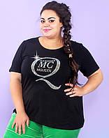 Черная футболка большого размера 54-72р