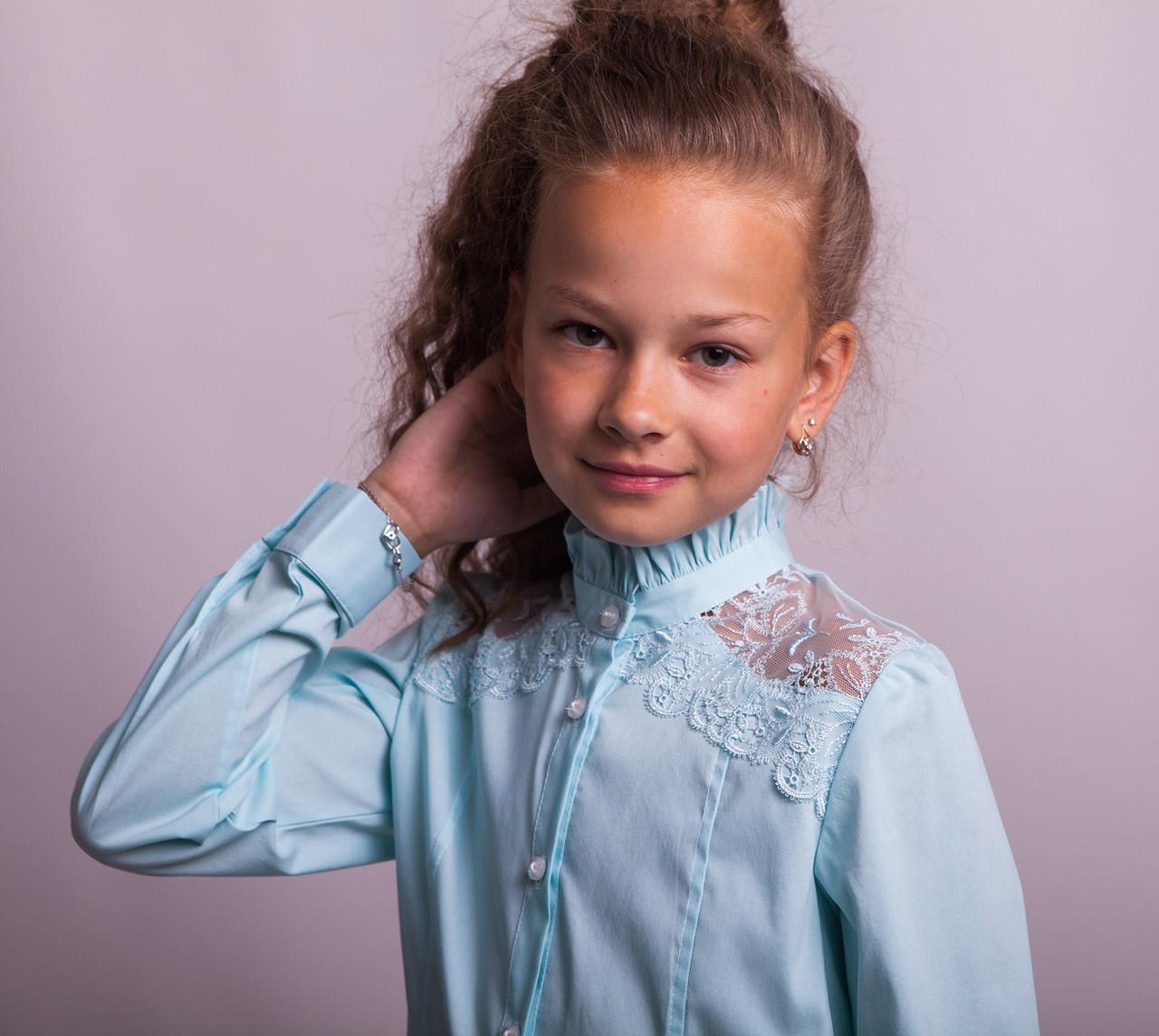 Блузка школьная нарядная 8022 мятный