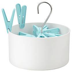 ТОРКИС Корзина + 30 прищепок, белый для дома и улицы, голубой, 10339227, IKEA, ИКЕА, TORKIS