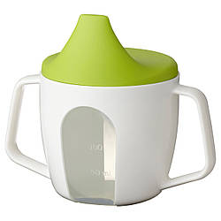 БОРЬЯ Чашка-поилка детская, 200 мл, белый, зеленый 20213883 IKEA, ИКЕА, BÖRJA
