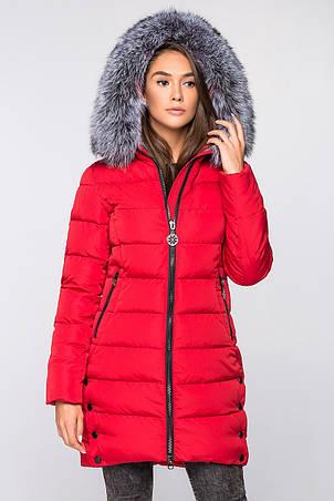 9768007d Женская зимняя куртка с меховой опушкой