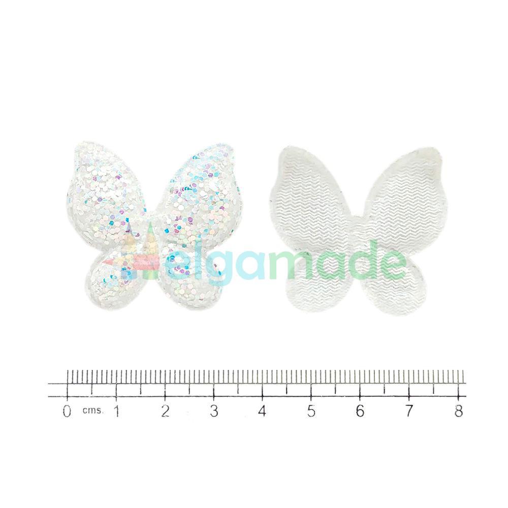Патч с крупными блестками БАБОЧКА БЕЛАЯ перламутр, 3.7х3.5 см, 1 шт