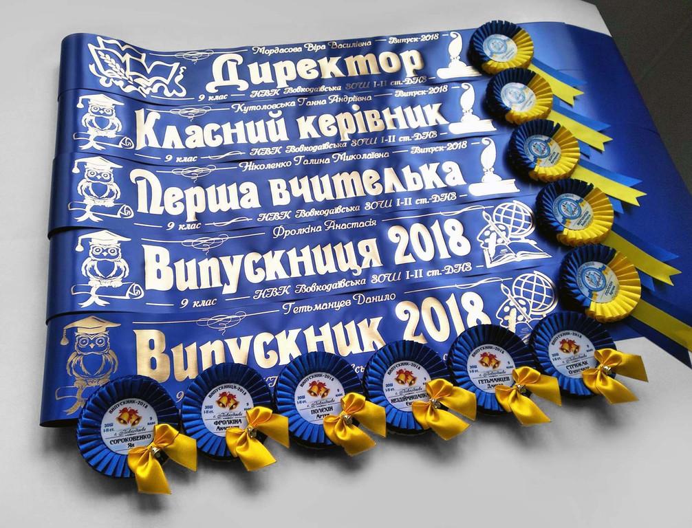 Синяя лента «Первый учитель», «Директор», «Классный руководитель» и «Выпускник 2019» (надпись - основной макет №12), и медаль «Выпускник 2019» — «Капелька» с бантиком и колокольчиком.