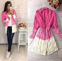 Кардиган женский в стиле Лало косичка бело-розовый, фото 1