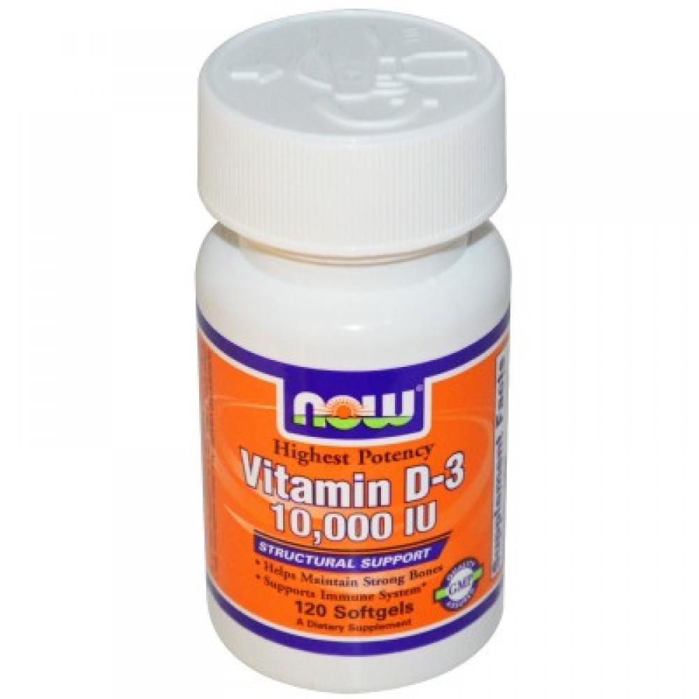 Витамин D3 Now Foods США 10 000 МЕ, 120 softgels