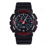 Спортивные наручные часы Casio G-Shock ga-100 Black-Red реплика
