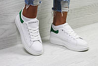 Александр Маккуин кроссовки женские белые зеленые кожаные (реплика) Alexander  McQueen White Green 7a8ef677153