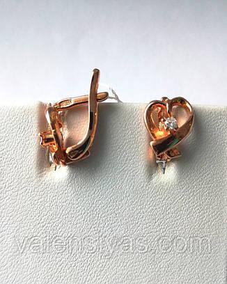 Позолоченные серебряные серьги С3Ф/024, фото 2