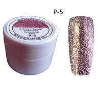 Глиттерный гель VICKI NAIL (гель блестки) нежный бежево розовый
