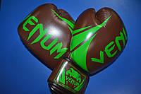 Перчатки боксерские кожаные на липучке VENUM CHALLENGER BO-5245-BR коричнево салатовые