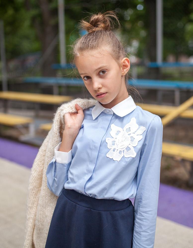 Блузка школьная нарядная 1801 голубой