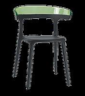 Крісло Papatya Luna чорне сидіння, верх прозоро-зелений, фото 1