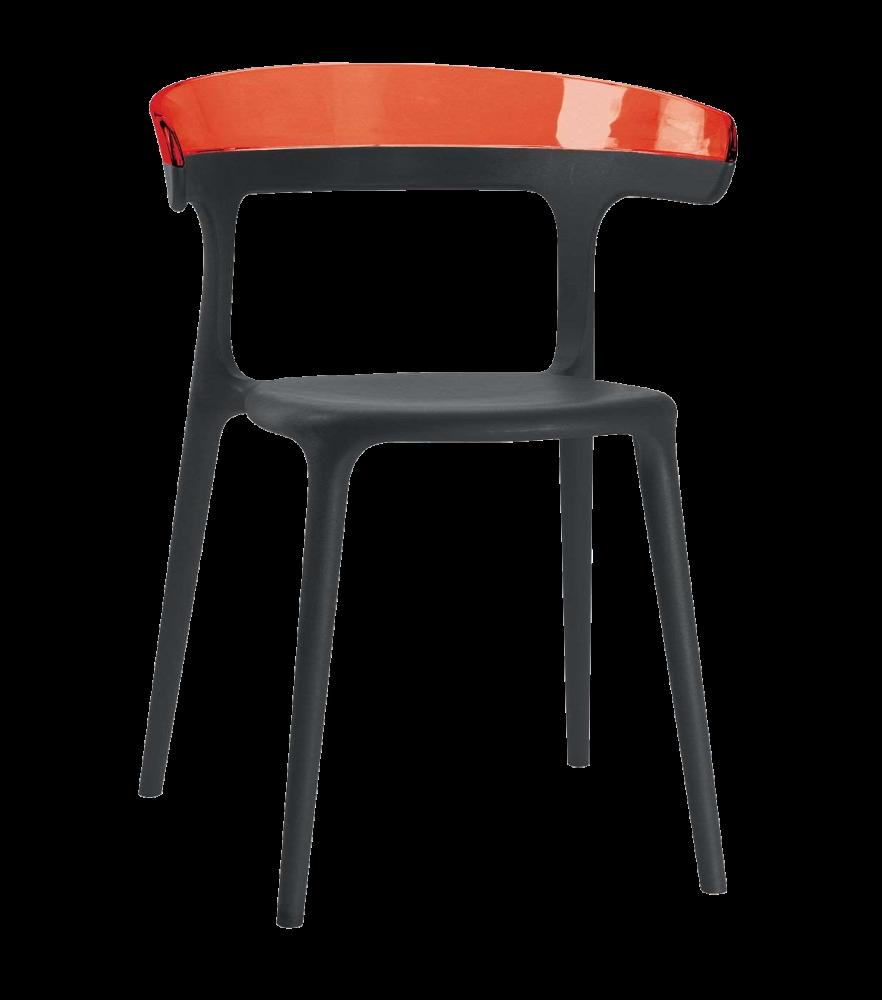 Крісло Papatya Luna чорне сидіння, верх прозоро-червоний