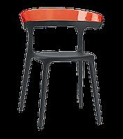 Крісло Papatya Luna чорне сидіння, верх прозоро-червоний, фото 1