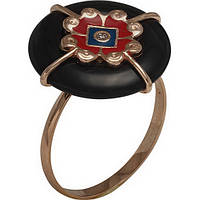 Золотое кольцо Агра с агатом, цирконием и эмалью 16.5 000046627