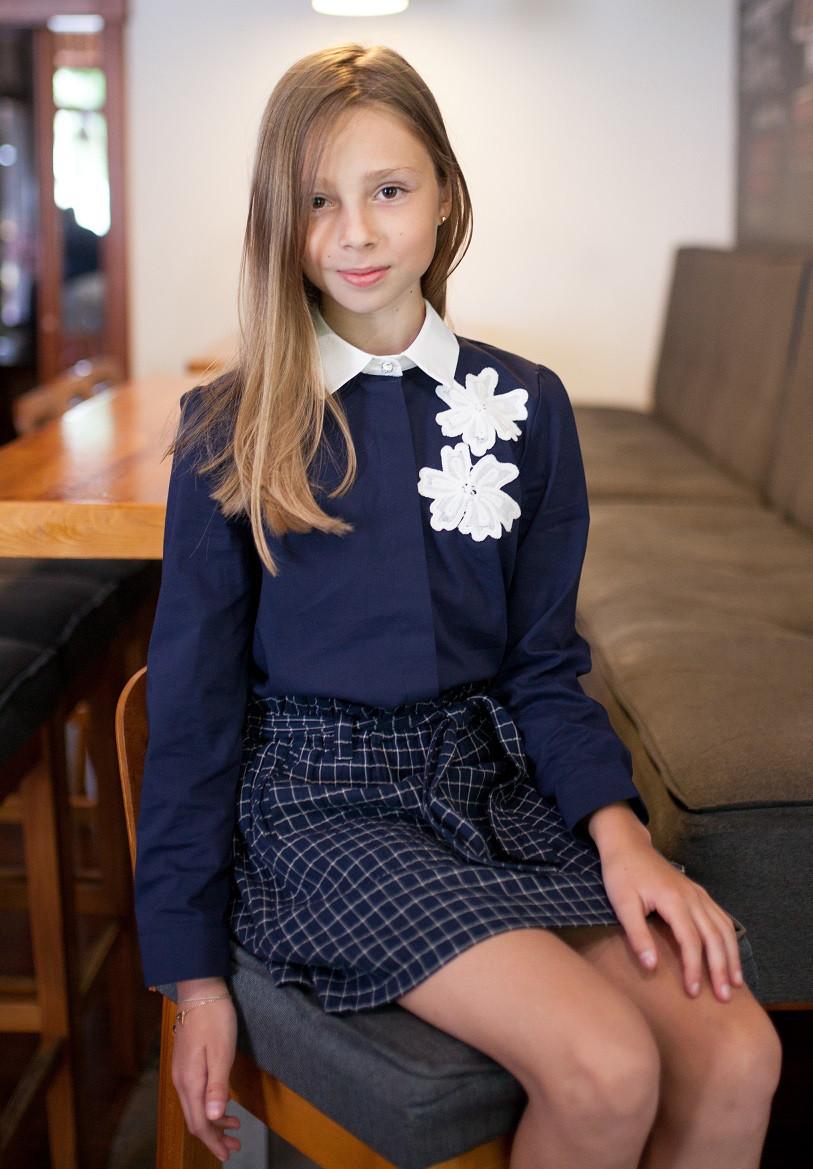 Блузка школьная нарядная 1801 синий