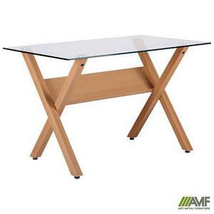 "Стол обеденный Maple бук/стекло прозрачное TM ""AMF"""