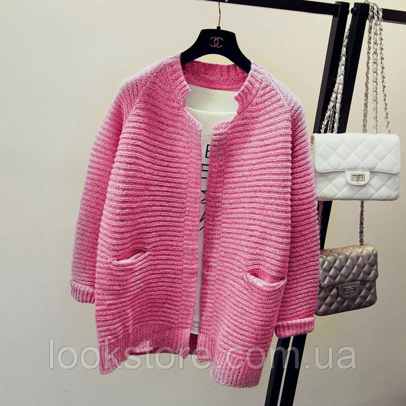 Кардиган женский с карманами вязаный розовый