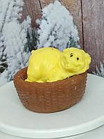 Мыло Свинка в корзинке, ручная работа, веселый подарок на новый год, желтый цвет