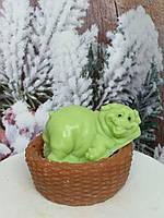 Мыло зеленое свинка в корзинке подарочный набор на новый год