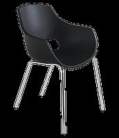 Кресло Papatya Opal матовое черное, база хром, фото 1