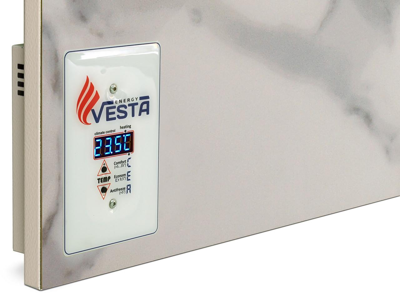 Обогреватель керамический настенный Vesta Energy PRO 1000 белый. Обогреет 20 м кв