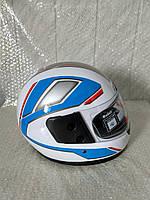 Шлем для скутера белый глянцевый с серо-сине-серыми узорами F2, размер S(55-56)