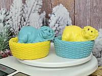 Новогодний сюрприз набор мыла две корзинки с хрюшами, ручная работа, разные цвета