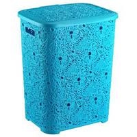 Корзина д/белья 67л узорчатая Elif голубая, фото 1
