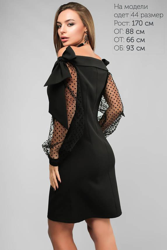 Стильное коктейльное платье с сеткой в горошек , фото 2