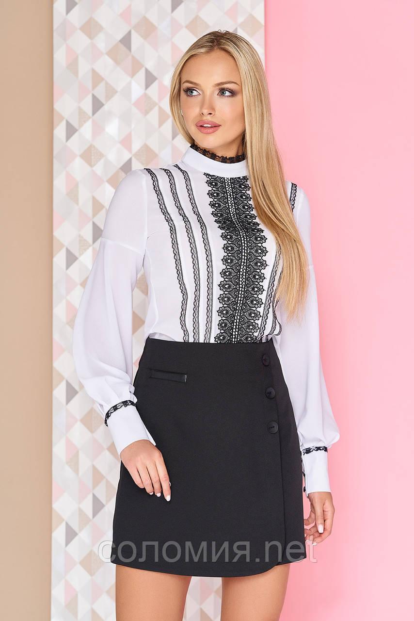 Стильна блуза з конфігураційних мереживом контрастного кольору 42-50р