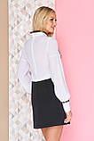 Стильна блуза з конфігураційних мереживом контрастного кольору 42-50р, фото 3