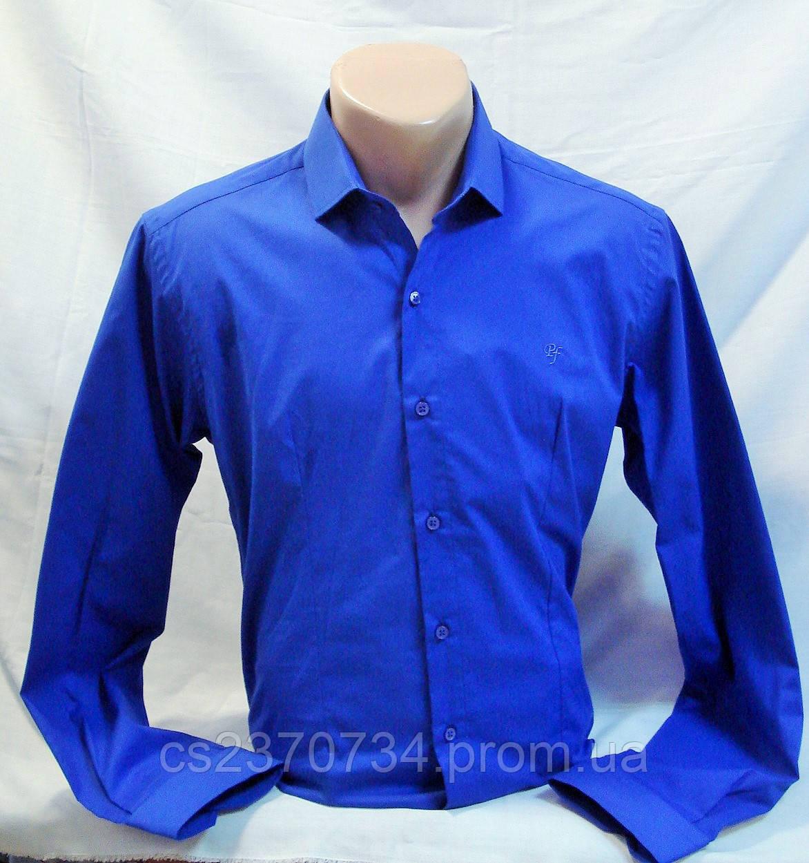 Рубашка синяя приталенная стрейчевая Prestige - L(46),XL(48),2XL(50)