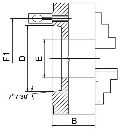 Стандартный 3-челюстный патрон PS3-160/D4, фото 2