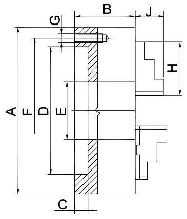 Стандартный 3-челюстный патрон PS3-80, фото 2
