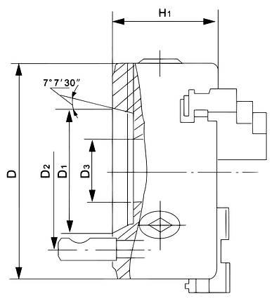 Стандартный 3-кулачковый патрон DK11-125/D4, фото 2