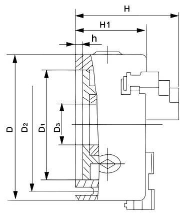 Стандартний 3-кулачковий патрон DK11-200, фото 2