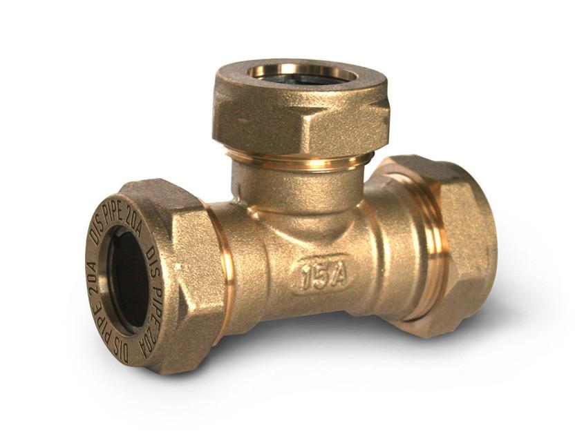 Тройник труба-труба-труба латунный DISPIPE BT20*20*20