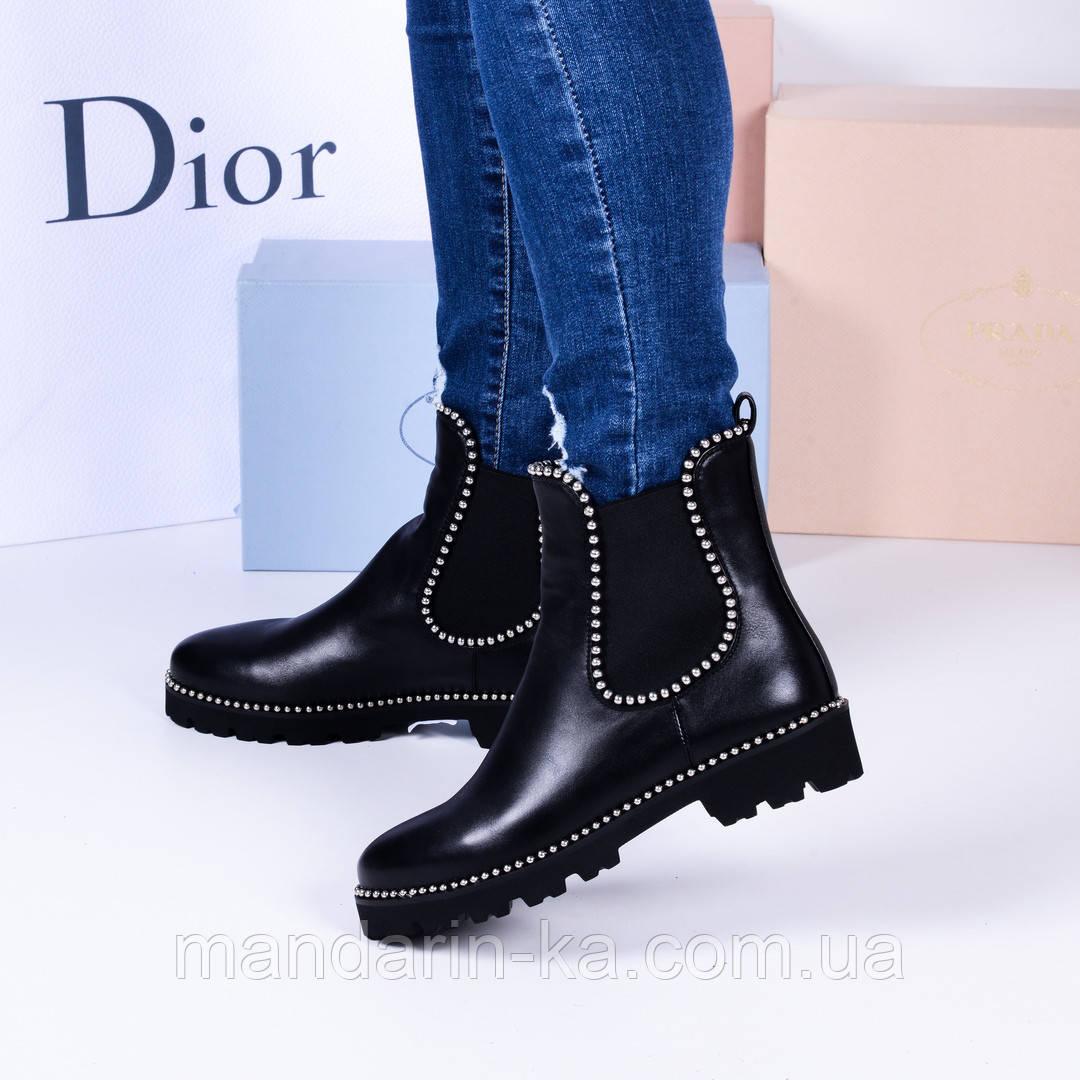 Женские ботинки черные  челси ободочек клепочки