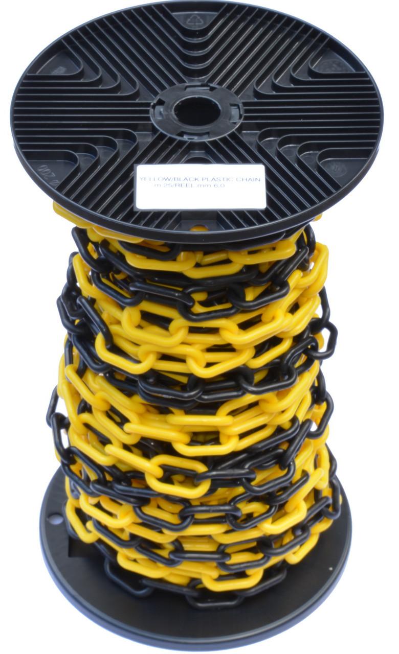 Цепь пластиковая оградительная, желто-черная (бухта 25 м.п.)