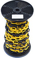 Цепь пластиковая оградительная, желто-черная (бухта 25 м.п.), фото 1