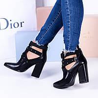 Женские ботинки черные  узкий  нос  каблук 9,5 см, фото 1